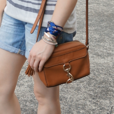 hair scarf tied in bracelet on wrist with Rebecca Minkoff MAB Camera Bag | away from the blue