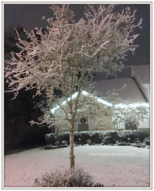 Texas Snow 20017-Christmas-Farmhouse-Snow Covered Tree-From My Front Porch To Yours