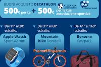 Logo Vinci gratis buoni Decathlon da 500 euro, Apple Watch, Mountain Bike e borsoni sport
