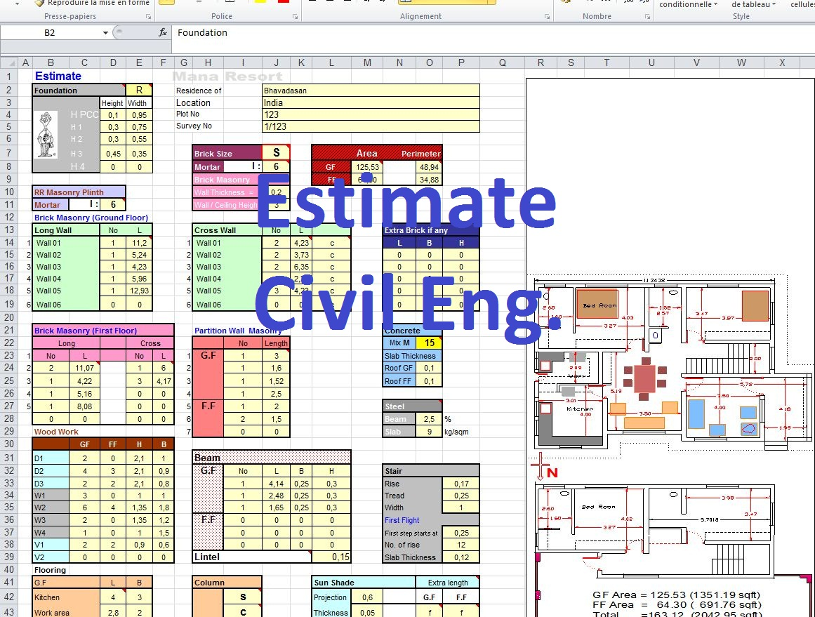 Concrete Estimate Formula Excel Spreadsheet Civil