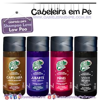 Low Poo Kamaleão Color - Capivara (ruivo dourado), Jubarte (azul Bic), Pônei (magenta) e Viúva Negra (preto)
