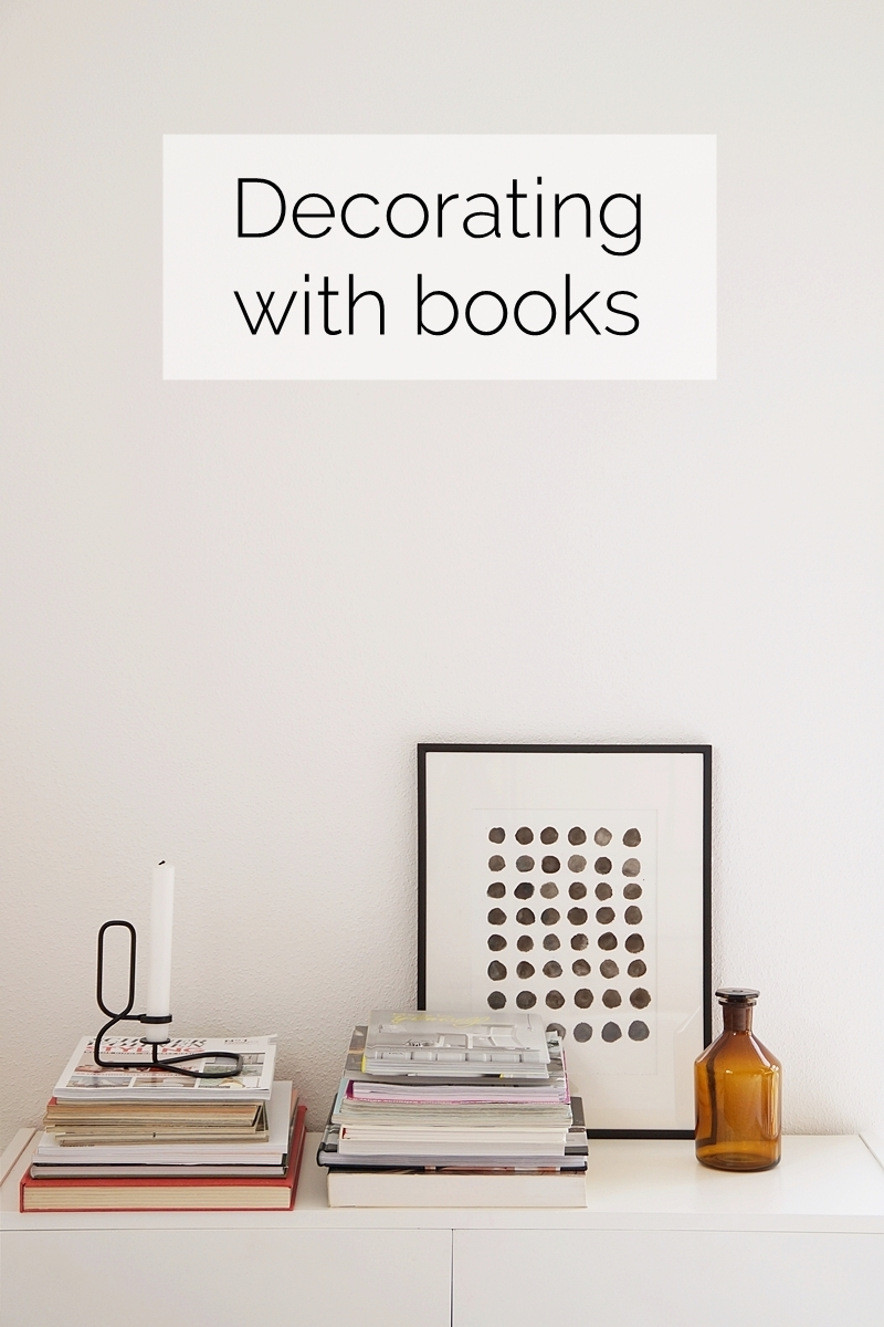 Scandinavian decoration with books and magazines