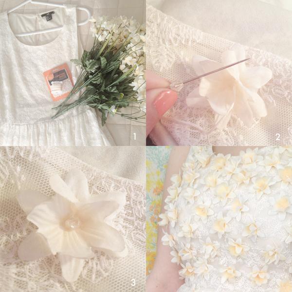 customizar, vestidos, flores, plástico, adornar, bricomoda, moda