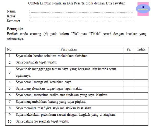contoh format lembar penilaian diri siswa atau peserta didik dengan 2 jawaban