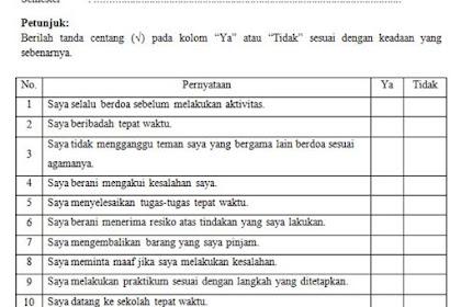 Contoh Format Lembar Penilaian Diri Siswa dengan 2 & 4 Jawaban
