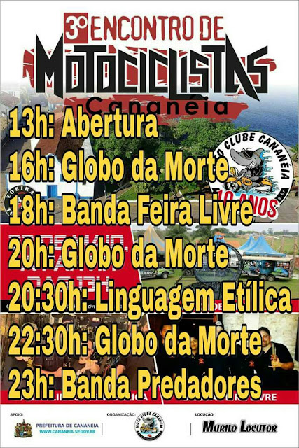 3° Encontro de Motociclistas de Cananeia com várias atrações neste 27/05