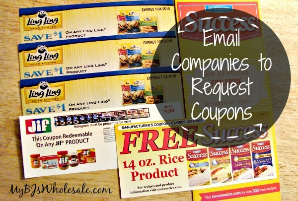 Email Companies to Request Coupons