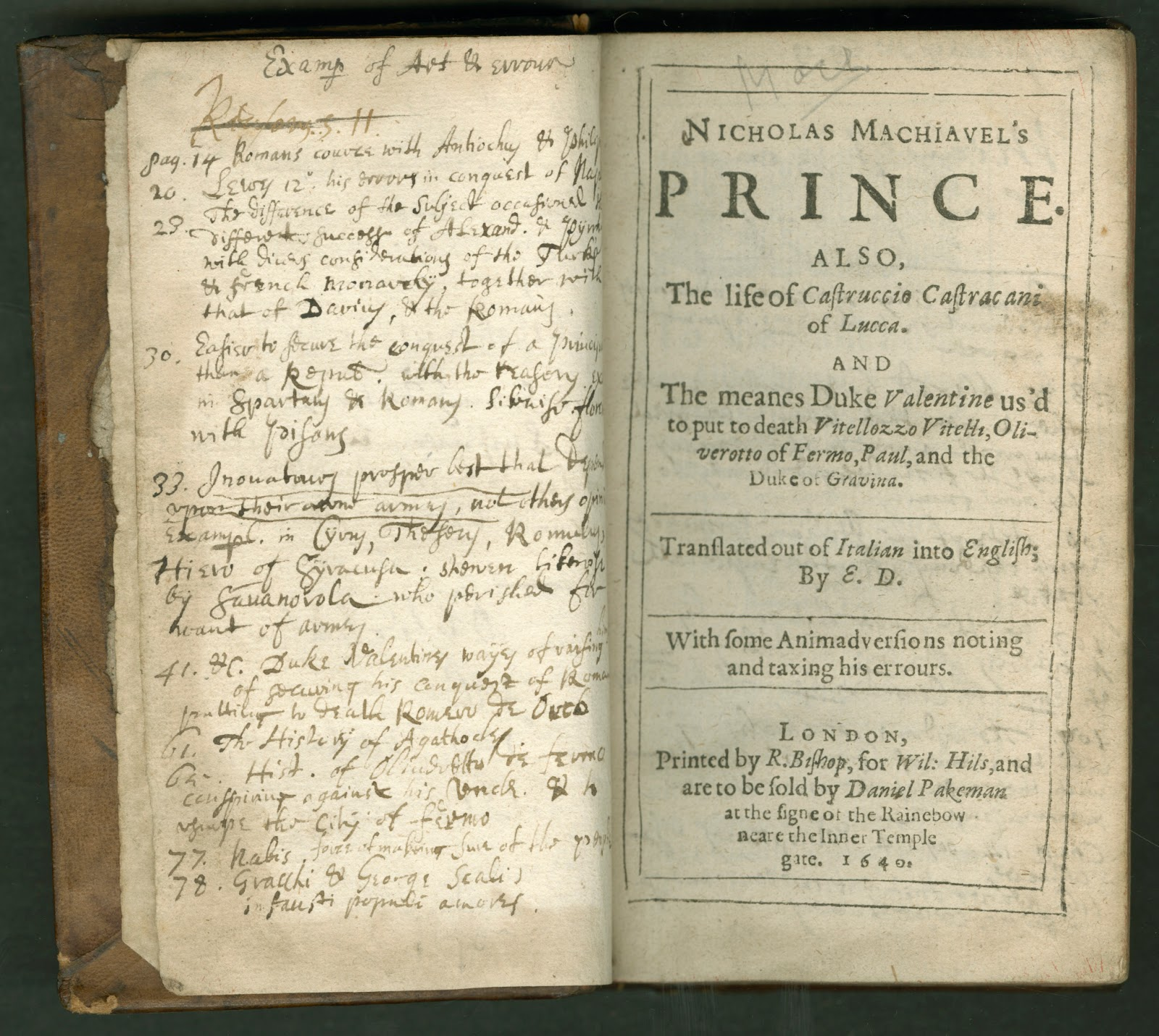 "A title page for ""The Prince,"" with extensive handwritten notes on the opposite page."