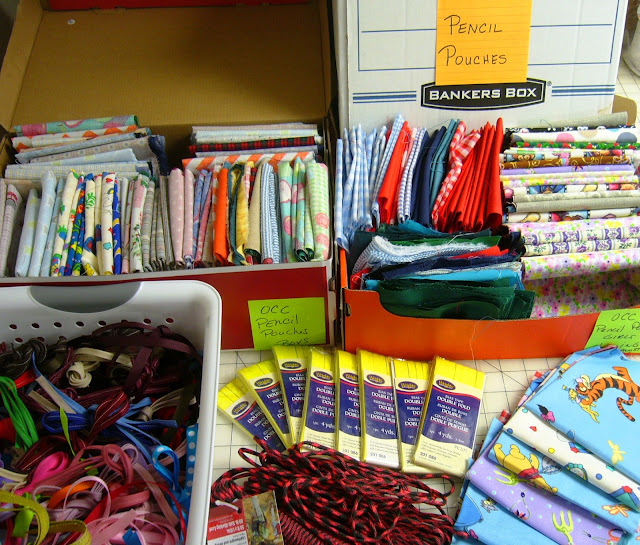 Crafting supplies for Operation Christmas Child shoeboxes