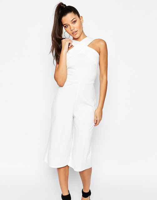 missguided white cropped jumpsuit, cross neck jumpsuit white,