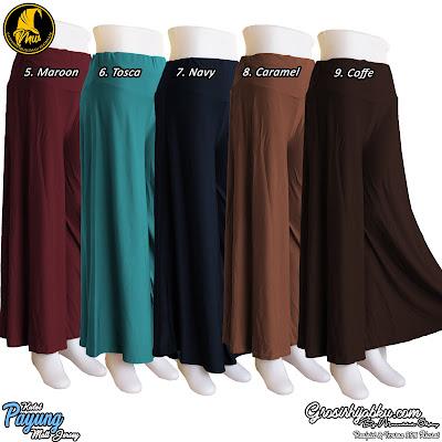 Celana kulot panjang model payung dari jersey polos