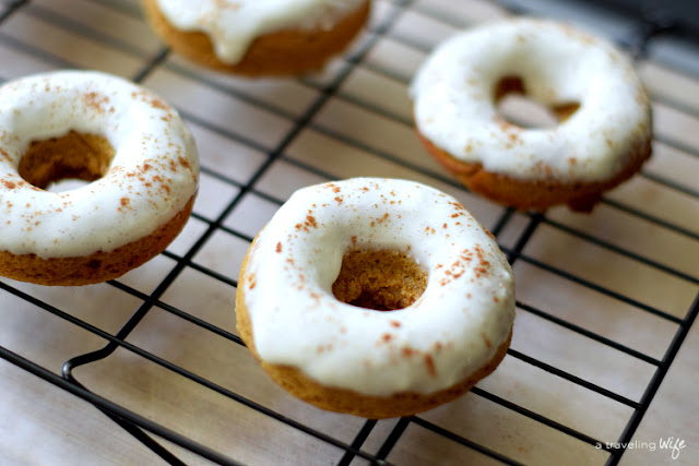Blender Pumpkin Baked Donuts with Maple Cream Cheese Frosting | www.atravelingwife.com