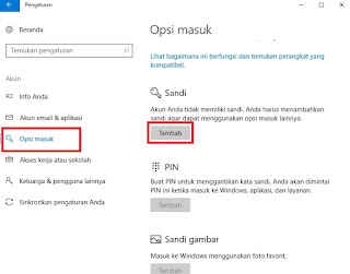 Tutorial Cara Membuat Password pada Laptop windows 10