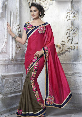 Beautiful Indian Model In Pink Faux Chiffon Half Saree With Blouse.