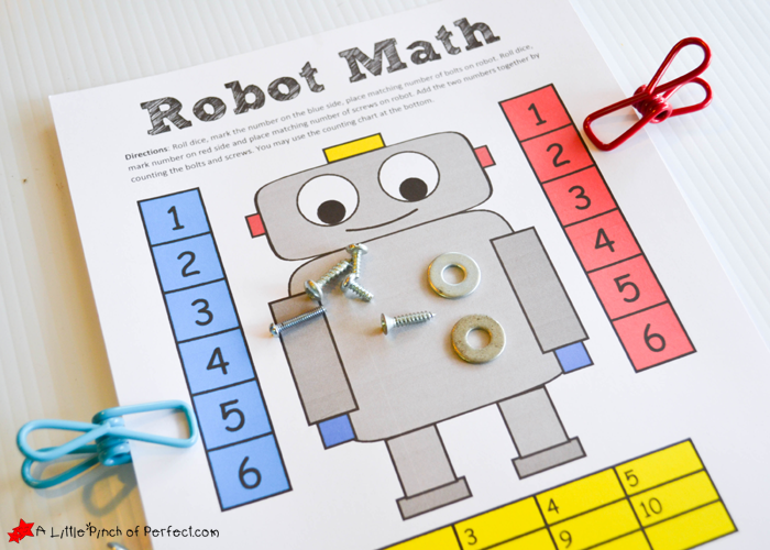 photograph relating to Robot Printable named Robotic Themed Math Sport and Absolutely free Printable for Children -