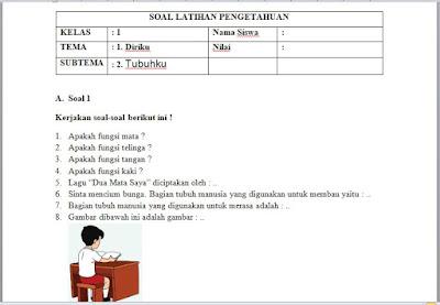 Soal Penilaian Harian Kelas 1 Tema 1 Diriku Sub Tema 2 Tubuhku, Library Pendidikan