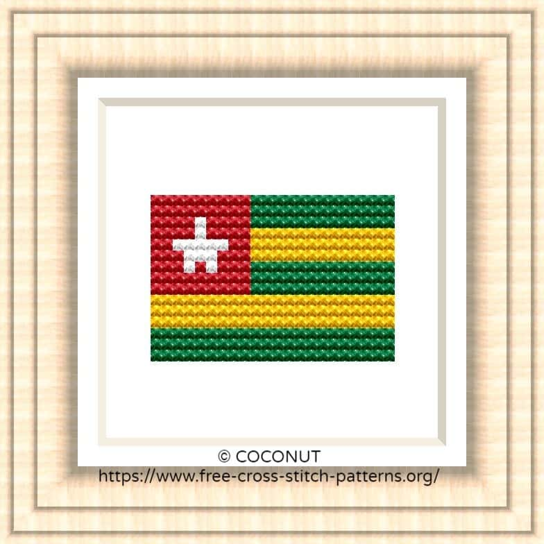 NATIONAL FLAG OF TOGO CROSS STITCH CHART