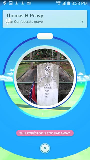 Pokémon GO PokéStop Confederate grave Thomas H Peavy