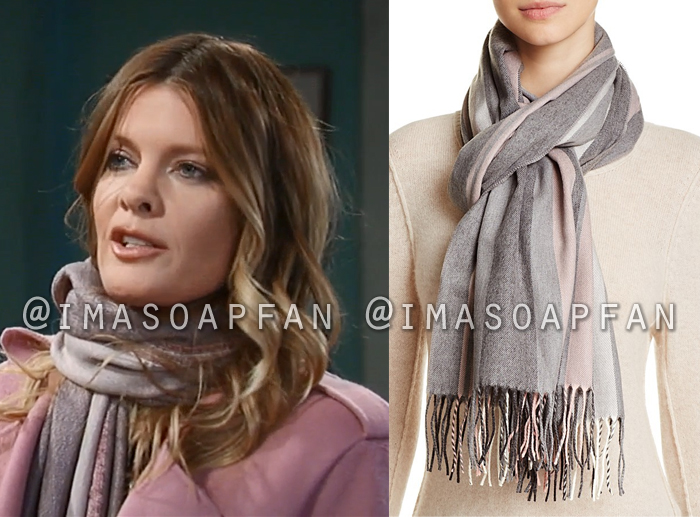 Nina Reeves, Michelle Stafford, Grey and Pink Vertical Stripe Scarf, General Hospital, GH