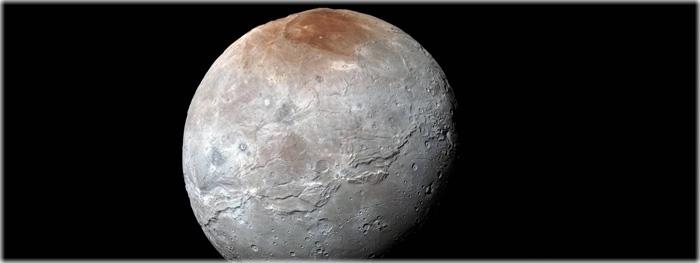sobrevoo 3D em Caronte, lua de Plutão