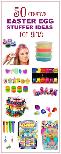 50 FUN Easter egg stuffer ideas for girls that aren't candy!  Some of these are SO COOL!  (NO CANDY!)