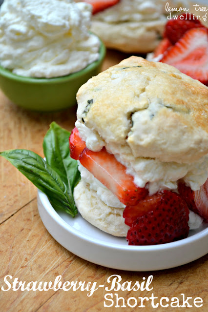 This is an amazing recipe... The classic delicious taste of strawberry shortcake with the unique touch of fresh basil. Yummy! lemontreedwelling.com