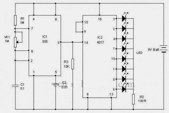 led chasing effect using ic 4017  decade counter  and ic 555  timer