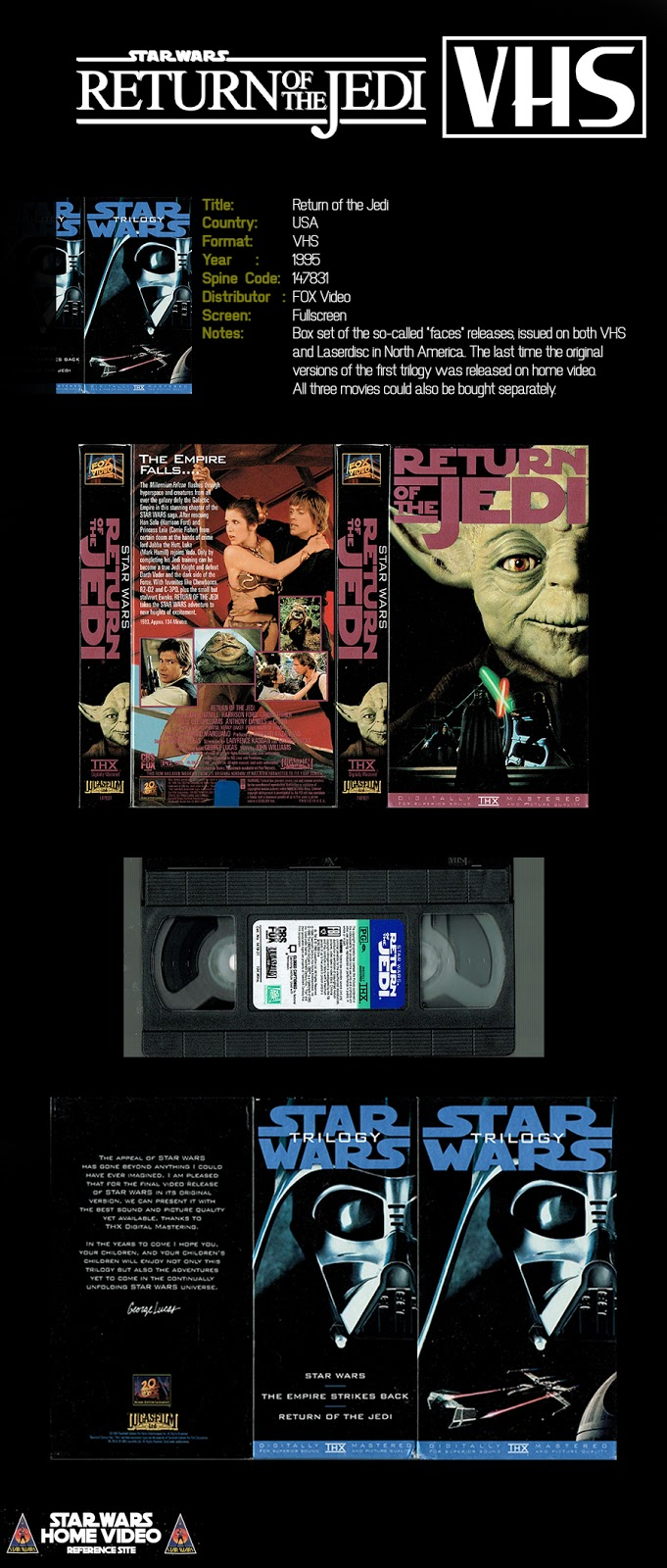 Star Wars Home Video Return Of The Jedi Usa Vhs 1995