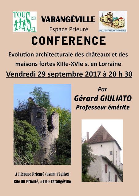 """VARANGEVILLE (54) - Conférence """"Châteaux et maisons fortes en Lorraine"""" (29 septembre 2017)"""