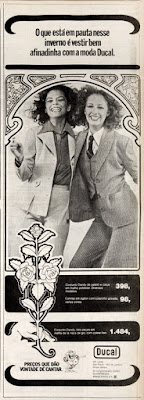 propaganda  Lojas Ducal anos 70; roupa feminina anos 70; moda anos 70; propaganda anos 70; história da década de 70; reclames anos 70; brazil in the 70s; Oswaldo Hernandez