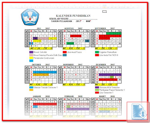 Aplikasi Kalender Pendidikan Otomatis Format Excel.Xlsm