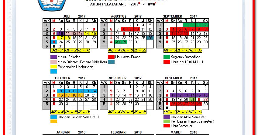 Aplikasi Kalender Pendidikan Otomatis Format Excel Xlsm