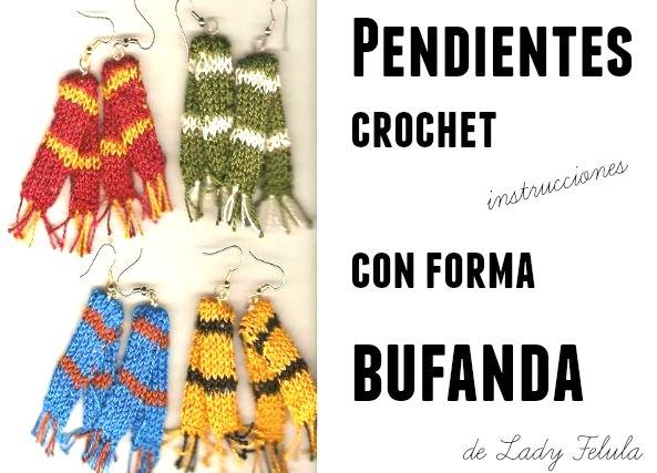 """Pendientes """"bufanda"""" ideas bisuteria crochet"""
