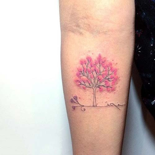 bayan ağaç dövmesi modelleri girly tree tattoo design