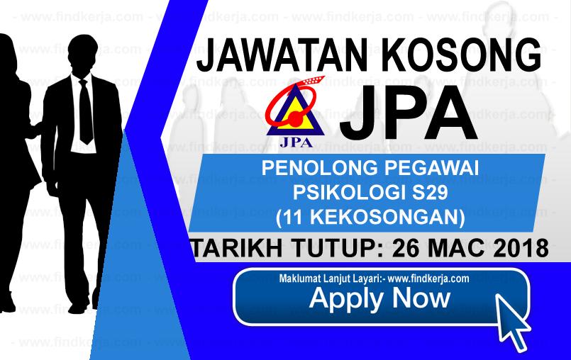 Jawatan Kerja Kosong JPA - Jabatan Perkhidmatan Awam (26 Mac 2018) logo www.findkerja.com mac 2018