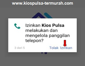Izinkan KIOS Mobile Topup untuk melakukan dan mengelola panggilan telepon