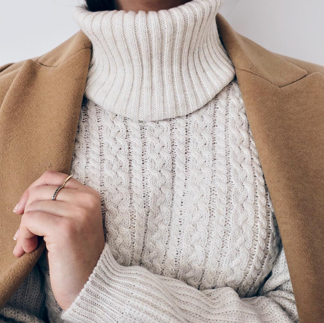 Winter Outfit Idea: Camel Coat and White Cable Knit Turtleneck Sweater
