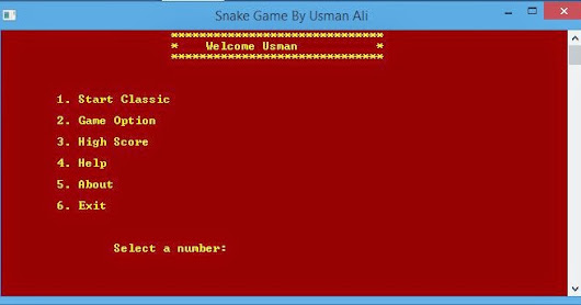 Snake Game Project in C++ by Usman Ali | Usman Ali