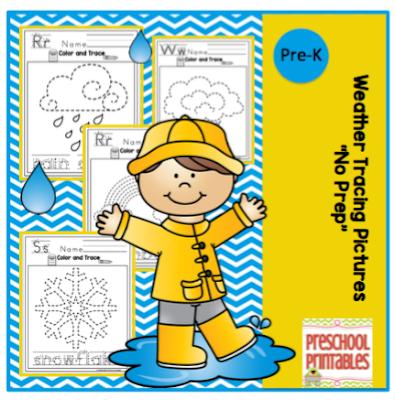 weather tracing pictures preschool printables. Black Bedroom Furniture Sets. Home Design Ideas