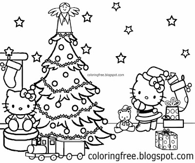 Xmas tree happy hello kitty home coloring charming Christmas drawing for teenage children to color