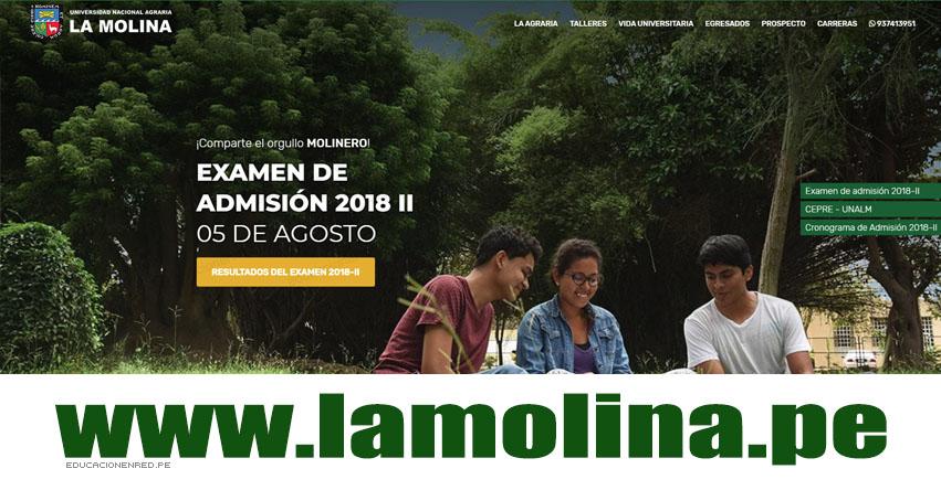 Resultados UNALM 2018-2 (5 Agosto) Ingresantes Examen Admisión - Universidad Nacional Agraria La Molina - www.lamolina.edu.pe