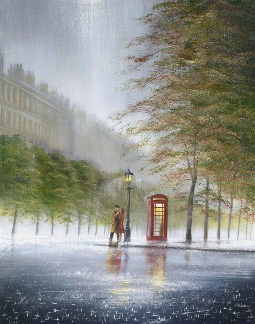 01-At-The-End-Of-The-Avenue-Jeff-Rowland-Paintings-of-Romantic-Scenes-in-the-Rain-www-designstack-co