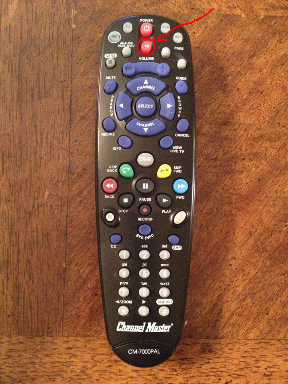Program Channel Master CM-7000PAL DVR Remote to run Vizio TV