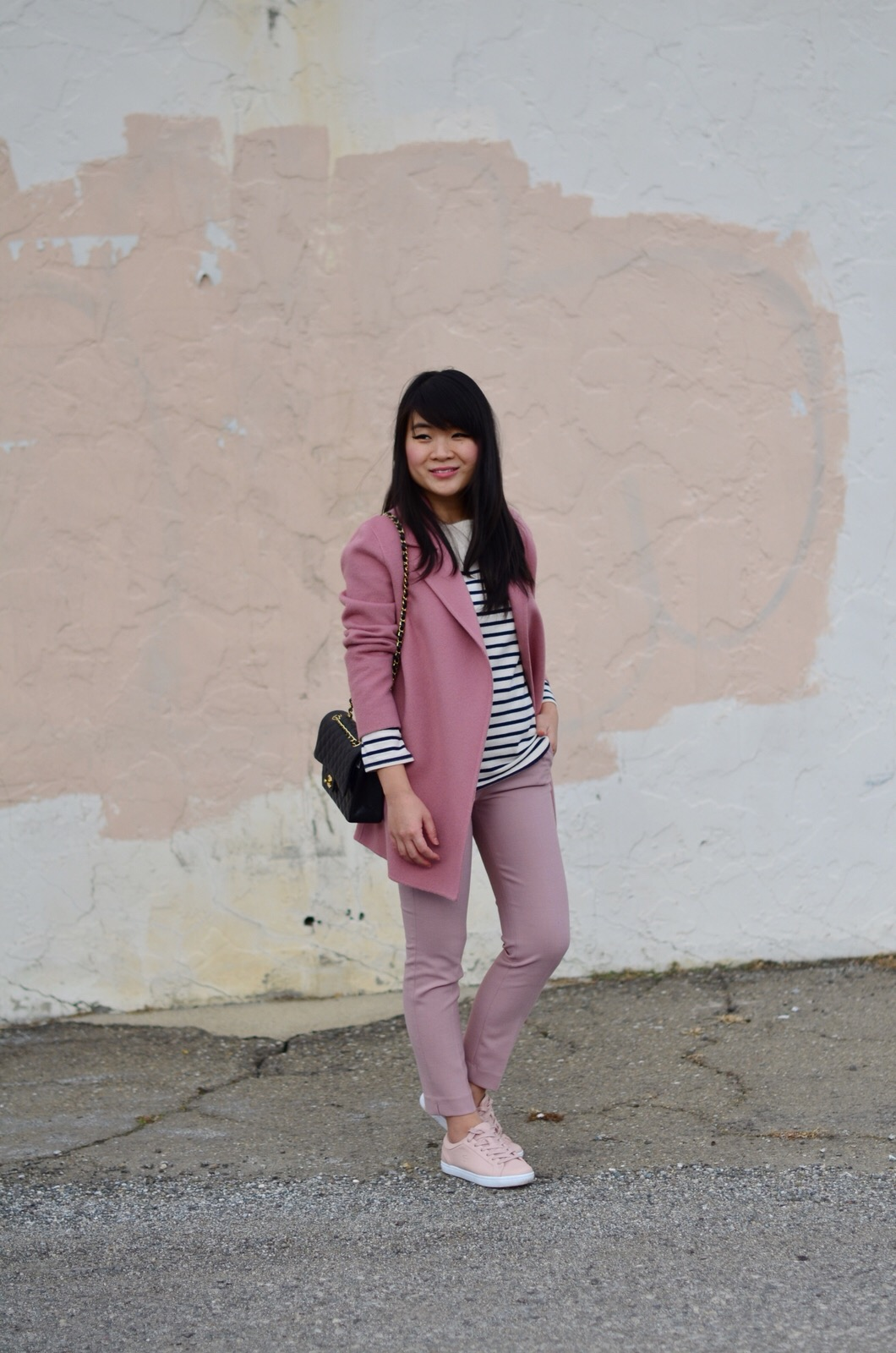 fall outfit inspiration pink theory jcrew lacoste chanel muji