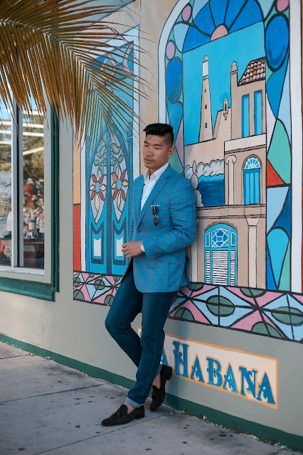 Men's Summer Style, Windowpane Blazer, Tallia Orange, Persol Sunglasses, Suede Loafers