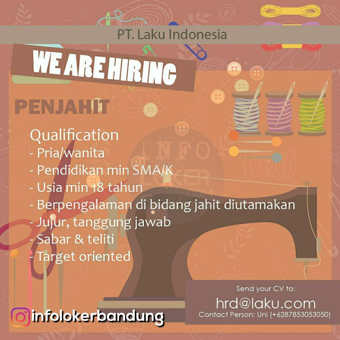Lowongan Kerja Penjahit PT. Laku Indonesia Bandung Desember 2018