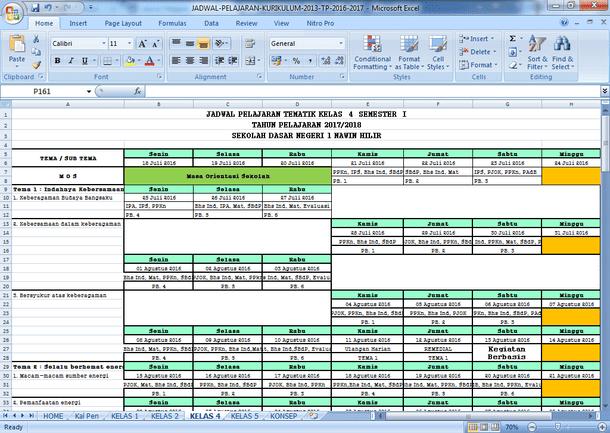 Contoh Jadwal Pelajaran Tematik SD Kurikulum 2013 Format Microsoft Excel