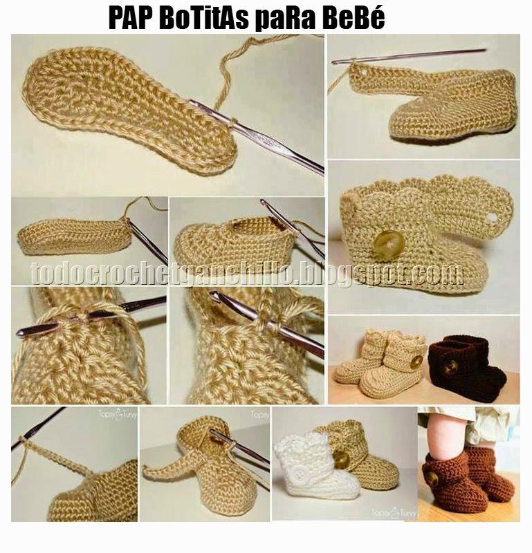 Botas de bebé tejidas con crochet con paso a paso en fotos