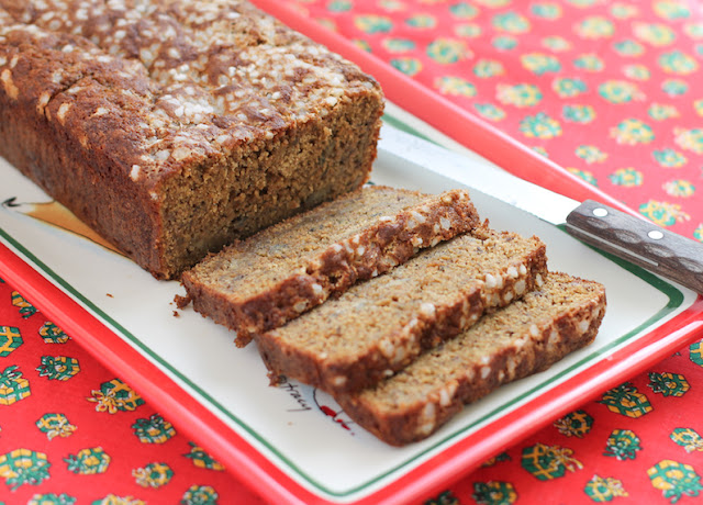 Food Lust People Love: This delicious spelt banana bread is made with plenty of brown sugar, ripe bananas and nutty tasting spelt flour, for a treat that tastes decadent enough for a holiday snack.