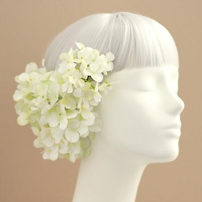 紫陽花の髪飾り(ホワイトグリーン)_和装髪飾り&ヘッドドレスairaka